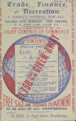 Advert for Trade, Finance & Recreation, periodical